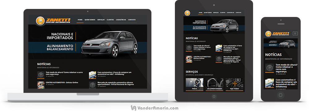 Website do Zanetti Centro Automotivo