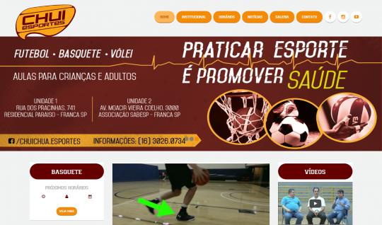 <p>Chuí Esportes é uma escola de basquete e futebol fundada em 2002 pelo ex-atleta Chuí, o maior cestinha da história do Franca Basquete.</p> <p>O site conta com um CMS próprio, onde é gerenciado todo seu conteúdo e a tabela de horários das equipes.<br /> Trabalhei como desenvolvedor front-end e coordenador de desenvolvimento do projeto, que foi criado na agência UTI das Ideias.</p>  | Portfólio Vander Amorin